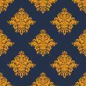 Gold and blue damask style seamless pattern — Stock Vector