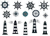 Set of marine or nautical themed vector icons — Stockvector