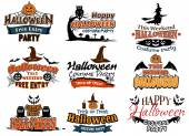 Colorful set of Happy Halloween designs — Stock Vector