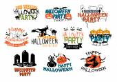 Halloween party and Happy Halloween designs — Stockvektor