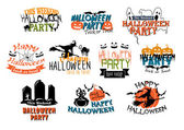 Halloween party and Happy Halloween designs — Διανυσματικό Αρχείο
