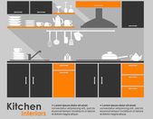 Kitchen interior flat design — Stok Vektör