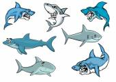 Cartoon sharks with various expressions — Stock Vector