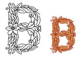 Letter B in floral and foliate font — Stock Vector