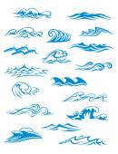Ocean or sea waves, surf and splashes set — Stock Vector