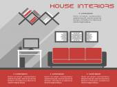 House interior design template — Vector de stock