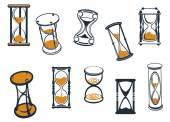 Set of hourglasses or egg timers — Stock Vector