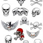 Vector skull characters with crossbones — Stock Vector #55922893