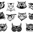 Large set of black and white owl heads — Stock Vector #55923215