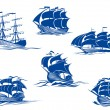 Blue tall ships or sailing ships — Stock Vector #55923221