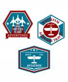 Aviation and tourism emblems — Stok Vektör