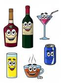 Happy cartoon beverage characters — Stock Vector