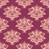 Purple and pink paisley style seamless pattern — Stock Vector