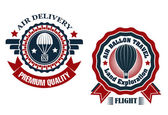 Air Delivery and Hot Air Balloon badges — Vector de stock