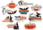 Set of Happy Halloween eerie designs — Stock Vector