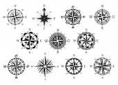 Antique compasses symbols set — Stock Vector