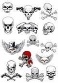 Vector skull characters with crossbones — Stock Vector