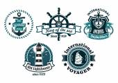 Nautical themed emblems or badges — Vetorial Stock