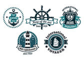 Nautical themed emblems or badges — Stock Vector