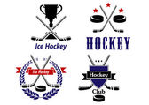 Ice Hockey emblems and badges for clubs — Stock Vector