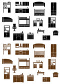 Set of flat furniture icons — Stock Vector
