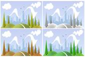 Landscape in four seasons — Stock Vector