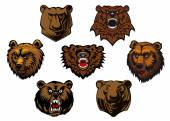 Different brown bear heads — Stock Vector