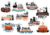 Set of Happy Halloween vector banners — Stock Vector