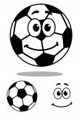 Smiling and white cartoon football character — Stock Vector