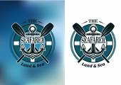 Seafarer badges with crossed oars — Stock Vector
