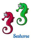 Cute little cartoon seahorses — Stock Vector