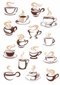 Set of vector steaming hot cups of coffee — Stock Vector
