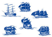 Blue tall ships or sailing ships — Vetorial Stock