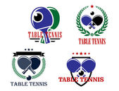 Table Tennis emblems or badges — Stock Vector