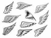 Heraldic wings set — Stock Vector