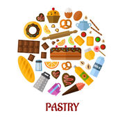 Pastry flat vector icons — Stock Vector
