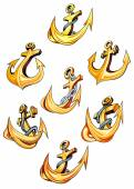 Swirling gold ships anchors — Vector de stock