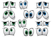 Blue and green cartoon eyes — Stock Vector