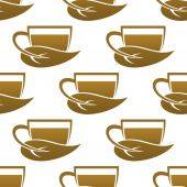 Seamless pattern of tea cups — Stock Vector