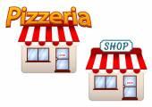 Cartoon shop and pizzeria icons — Stock Vector