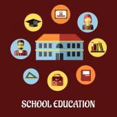 School education flat design — Stock Vector