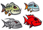 Cartoon colorful pirhana fish characters — Stock Vector