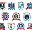 University, academy and college emblems or logos set — Stock Vector #57076179