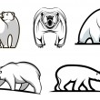 Set of cartoon polar bears — Stock Vector #57076321