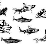 Fierce shark tattoo icons — Stock Vector #57076367