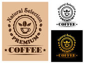 Natural Selection Premium Coffee label — Stock Vector