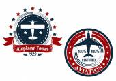 Circular aviation emblems or badges — Vector de stock