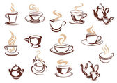 Set of doodle sketch coffee icons — Stock Vector