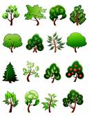 Set of  cartoon green plants and trees — Stock Vector