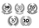 Set of 30 Years anniversary laurel wreaths — Stock Vector